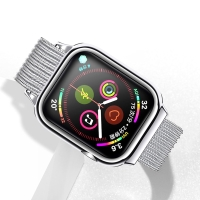 Řemínek USAMS pro Apple Watch 44mm Series 4 / 5 / 6 / SE / 42mm 1 / 2 / 3 + pouzdro - milánský tah - stříbrný