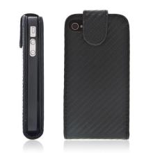 Ochranný kryt pro Apple iPhone 4 / 4S vyklápěcí s místem pro kartu - karbon