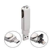 Flash disk 32 GB 3v1 pro Apple iPhone / MacBook a další zařízení - Lightning / USB / USB-C - kovový - stříbrný