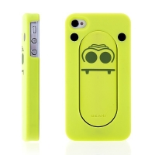 Ochranný plastový kryt s integrovaným stojánkem pro Apple iPhone 4 / 4S - zelený krokodýl s vyplazeným jazykem