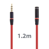 Prodlužovací Audio kabel 3.5mm Jack pro Apple iPhone / iPad / iPod / MP3 - 1,2m červený