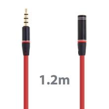 Prodlužovací Audio kabel3.5mm Jack pro Apple iPhone / iPad / iPod / MP3 - 1,2m červený