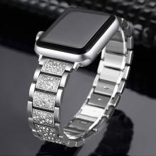 Řemínek pro Apple Watch 40mm Series 4 / 5 / 6 / SE / 38mm 1 / 2 / 3 - s kamínky - kovový - stříbrný