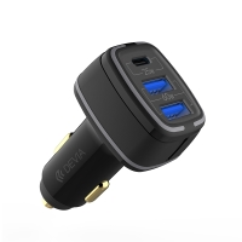Autonabíječka DEVIA - 2x USB + USB-C - celkový výkon 85W - černá