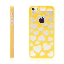 Kryt pro Apple iPhone 5 / 5S / SE plastový srdce žlutý