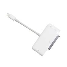 Přepojka / redukce pro Apple iPhone / iPad - Lightning na USB-A + 3,5mm jack + SATA + Lightning - bílá