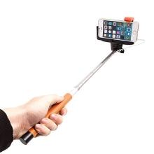 Teleskopická selfie tyč / monopod KJstar - kabelová spoušť - oranžová