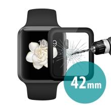 Tvrzené sklo (Tempered Glass) ENKAY pro Apple Watch 42mm series 1 / 2 / 3 - 3D hliníkový rámeček - černé