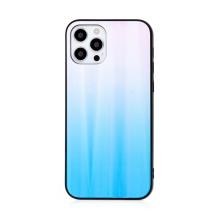 Kryt pro Apple iPhone 12 Pro Max - barevný přechod a lesklý efekt - gumový / skleněný - modrý / růžový