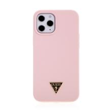 Kryt GUESS Silicone Metal Triangle pro Apple iPhone 12 Pro Max - silikonový - růžový