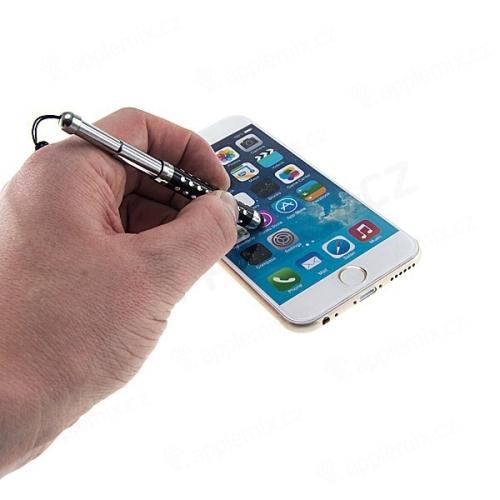 Výsuvné dotykové pero / stylus + antiprachová záslepka na jack konektor pro Apple zařízení - černo-stříbrné s ozdobnými kamínky