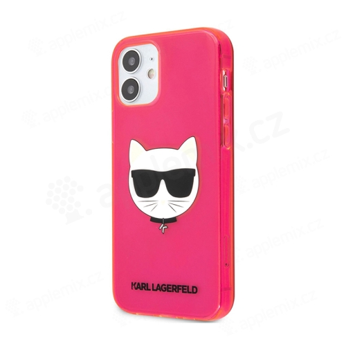 Kryt KARL LAGERFELD Choupette pro Apple iPhone 12 mini - gumový - růžový