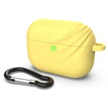 Pouzdro DEVIA pro Apple Airpods Pro - vlnka - silikonové - žluté