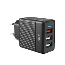 Nabíječka / EU napájecí adaptér XO L59 - 3x USB - 18W QuickCharge - černý