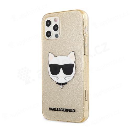 Kryt KARL LAGERFELD Choupette pro Apple iPhone 12 / 12 Pro - se třpytkami - gumový - zlatý