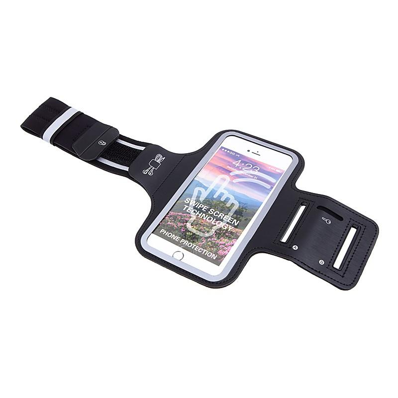 Sportovní pouzdro pro Apple iPhone 6 Plus / 6S Plus / 7 Plus / 8 Plus - černé s reflexním pruhem