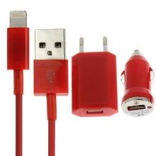 3v1 nabíjecí sada pro Apple iPhone / iPod - EU adaptér, autonabíječka a Lightning kabel - červená
