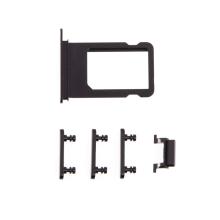 Rámeček / šuplík na Nano SIM + boční tlačítka pro Apple iPhone 7 - černý - kvalita A+