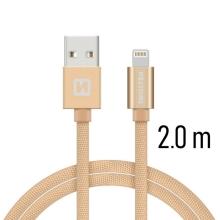 Synchronizační a nabíjecí kabel SWISSTEN - MFi Lightning pro Apple zařízení - tkanička - zlatý - 2m