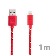 Synchronizační a nabíjecí kabel Lightning pro Apple iPhone / iPad / iPod - tkanička - červený