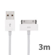 Synchronizační a nabíjecí kabel s 30pin konektorem pro Apple iPhone / iPad / iPod - silný - bílý - 3m