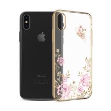 Kryt KAVARO pro Apple iPhone X - s kamínky Swarowski - plastový - motýl a květiny - průhledný / zlatý