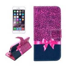 Pouzdro pro Apple iPhone 6 / 6S - prostor na doklady + integrovaný stojánek - růžový leopardí vzor