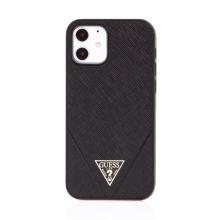 Kryt GUESS Safiiano V pro Apple iPhone 12 / 12 Pro - umělá kůže - černý