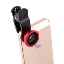 Multifunkční objektiv 3v1 s klipem pro Apple iPhone a jiné - 180°rybí oko / 0,67x širokoúhlý objektiv / makro objektiv - červený