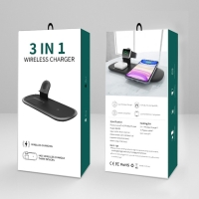 3v1 nabíjecí stanice Qi / stojánek pro Apple iPhone + AirPods + Watch