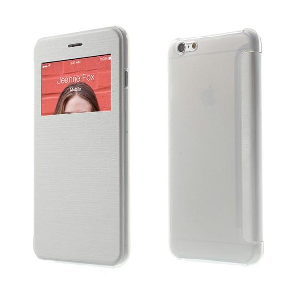 Flipové pouzdro pro Apple iPhone 6 Plus / 6S Plus s průhledným prvkem / výřezem pro displej - bílé