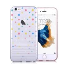 Kryt DEVIA pro Apple iPhone 6 / 6S gumový - barevné puntíky / průhledný