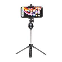 Selfie tyč / monopod + stativ / tripod - Bluetooth spoušť - plastová - černá