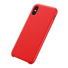 Kryt BASEUS pro Apple iPhone Xs Max - příjemný na dotek - silikonový - červený