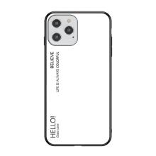 Kryt pro Apple iPhone 12 / 12 Pro - skleněný / gumový - bílý