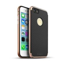 Kryt IPAKY pro Apple iPhone 7 / 8 gumový / růžově zlatý (Rose Gold) plastový rámeček - černý