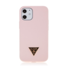 Kryt GUESS Silicone Metal Triangle pro Apple iPhone 12 mini - silikonový - růžový