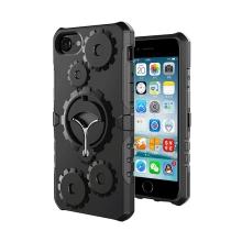 Kryt pro Apple iPhone 7 / 8 - odolný - pásek na ruku + stojánek - ozubená kola - plastový / gumový - černý