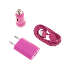 3v1 nabíjecí sada pro Apple iPhone / iPod - EU adaptér, autonabíječka a 30pin kabel - růžová