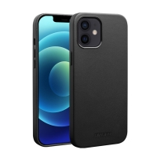 Kryt QIALINO pro Apple iPhone 12 / 12 Pro - kožený - černý