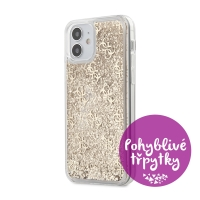 Kryt GUESS Liquid Glitter pro Apple iPhone 12 mini - plastový - zlaté třpytky