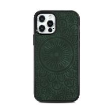 Kryt pro Apple iPhone 12 / 12 Pro - mandala - MagSafe kompatibilní - umělá kůže - zelený