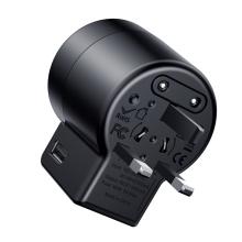Cestovní adaptér / nabíječka BASEUS - průchozí přepojka EU / UK / US + 2x USB 2,4A - černá