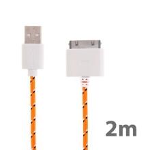 Synchronizační a nabíjecí kabel s 30pin konektorem pro Apple iPhone / iPad / iPod - tkanička - oranžový - 2m