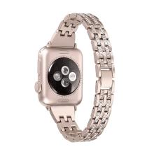 Řemínek pro Apple Watch 44mm Series 4 / 5 / 42mm 1 2 3 - s kamínky - kovový - zlatý