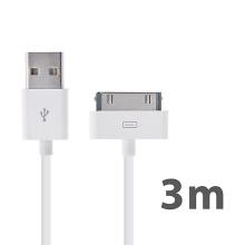 Synchronizační a dobíjecí USB kabel pro Apple iPhone / iPad / iPod – 3m bílý