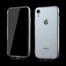 Kryt pro Apple iPhone Xr - 360° ochrana - gumový / plastový + přední sklo - průhledný