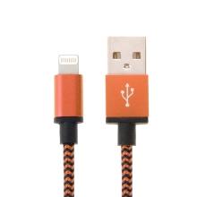 Synchronizační a nabíjecí kabel Lightning - tkanička - černý / oranžový - 2m