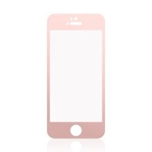 Tvrzené sklo (Tempered Glass) pro Apple iPhone 5 / 5S / 5C / SE - Rose Gold rámeček - 0,3mm