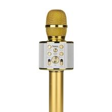 Mikrofon HOCO Cool Sound - karaoke - 5W reproduktor - Bluetooth - zlatý